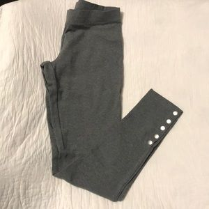 Express Sexy Stretch Gray Leggings with Snaps New